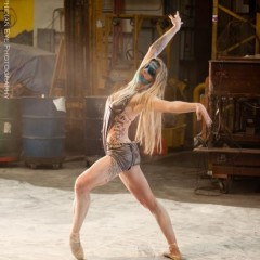 "Jen Faust of Faust Productions dances during filming for ""Triptych: Journey thru Cancer"""